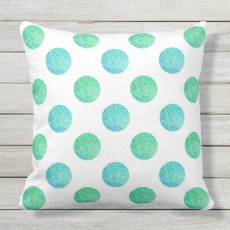 Aqua Turquoise Textured Watercolor Polka Dots Cushion
