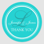 Aqua Turquoise Thank You Stickers for Weddings