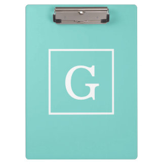 Aqua Turquoise White Framed Initial Monogram Clipboard