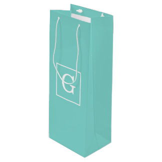Aqua Turquoise White Framed Initial Monogram Wine Gift Bag