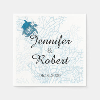 Aqua Turtle Love Wedding Paper Serviettes