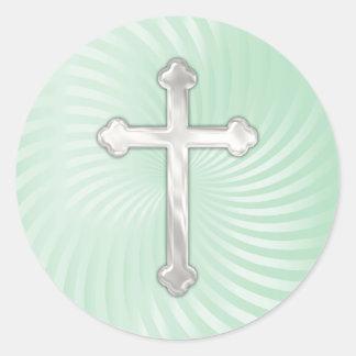 Aqua Twirl Silver Pearl Cross Sticker