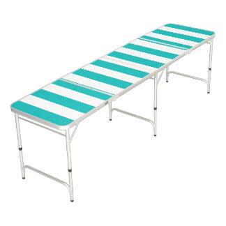 Aqua Vertical Stripes Beer Pong Table