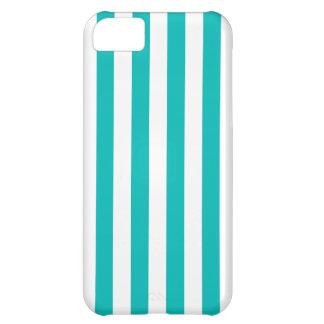 Aqua Vertical Stripes iPhone 5C Case