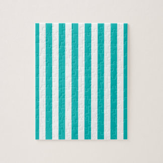 Aqua Vertical Stripes Jigsaw Puzzle