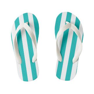 Aqua Vertical Stripes Kid's Thongs
