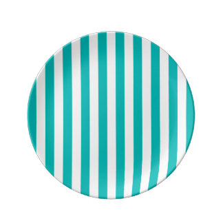 Aqua Vertical Stripes Plate