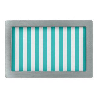 Aqua Vertical Stripes Rectangular Belt Buckle