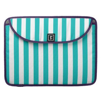 Aqua Vertical Stripes Sleeve For MacBooks