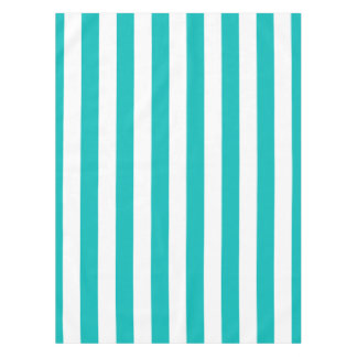 Aqua Vertical Stripes Tablecloth