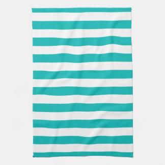 Aqua Vertical Stripes Tea Towel