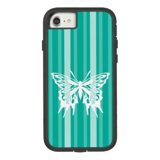 Aqua Victorian Stripe with Butterfly Case-Mate Tough Extreme iPhone 8/7 Case