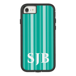 Aqua Victorian Stripe with Monogram Case-Mate Tough Extreme iPhone 8/7 Case