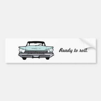 Aqua Vintage Car Bumper Sticker