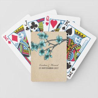 Aqua Vintage Cherry Blossoms Cards