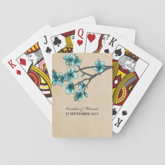 Aqua Vintage Cherry Blossoms Playing Cards