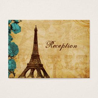 aqua vintage eiffel tower Paris Reception cards