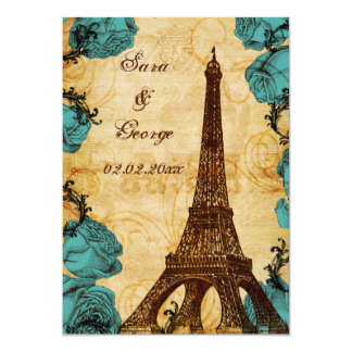 aqua vintage eiffel tower Paris save the date Card