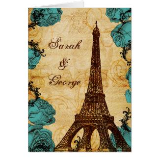aqua vintage eiffel tower Paris thank you Card