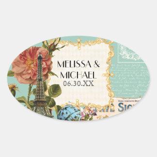 Aqua Vintage Eiffel Tower Rose Favor Gift Tags Oval Sticker