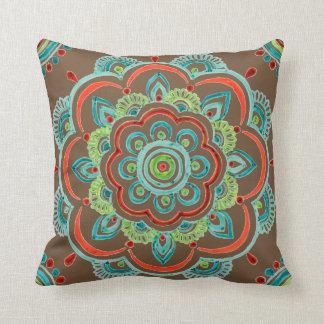 Aqua vintage mandala design pillow