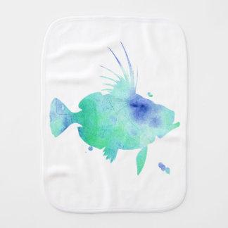 Aqua Water splatter Fish Burp Cloth