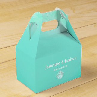 Aqua  watercolor  beach  coral reef wedding favour box