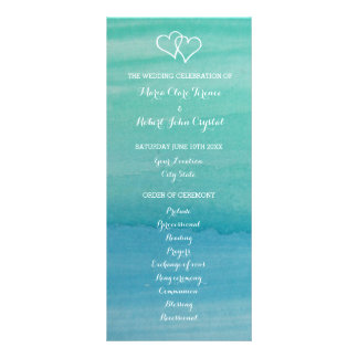 Aqua watercolor beach wedding ceremony program personalised rack card
