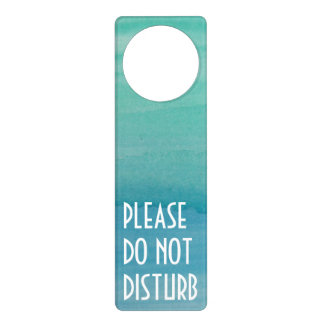 Aqua watercolor door hanger | Do not disturb sign