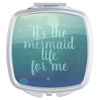 Aqua Watercolor Mermaid Makeup Mirror