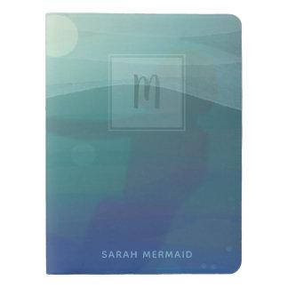 Aqua Watercolor Mermaid Monogram Notebook Cover