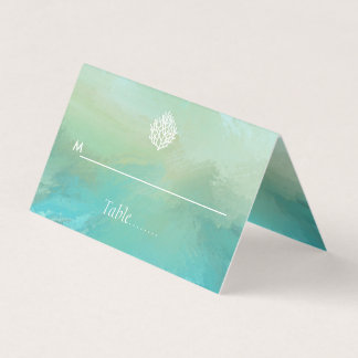 Aqua watercolor mint green  coral reef beach place card