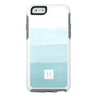 Aqua Watercolor Ombre Gradient Monogram OtterBox iPhone 6/6s Case