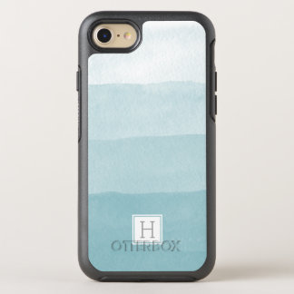 Aqua Watercolor Ombre Gradient Monogram OtterBox Symmetry iPhone 7 Case