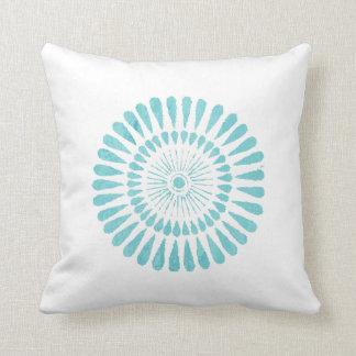 Aqua Watercolor One Aqua Sunburst White Pillow