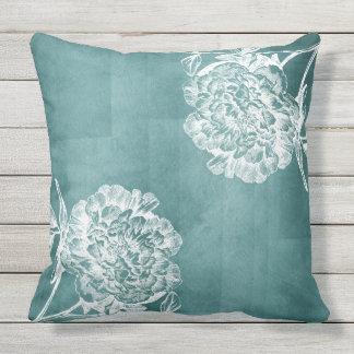 Aqua Watercolor Peonies Outdoor Cushion