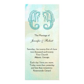 Aqua Watercolor Seahorse Wedding Program Rack Card