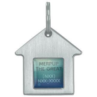 Aqua Watercolor Silver Coloured House Dog Tag
