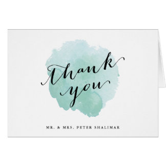 Aqua watercolor thank you note card spotlight