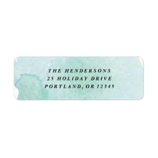 Aqua watercolor wash return address label