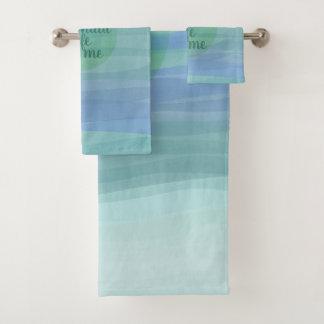 Aqua Watercolor Waves Mermaid Quote Bath Towel Set