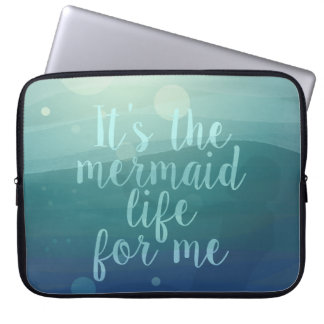 Aqua Watercolor Waves Mermaid Quote Laptop Sleeve