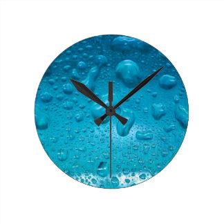 Aqua Waterdrops on Glass:- Clocks