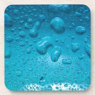 Aqua Waterdrops on Glass:- Coasters