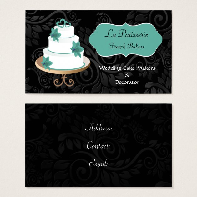 wedding cake business from home aqua wedding cake makers business cards zazzle 22133