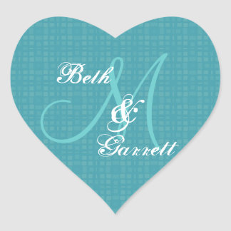 Aqua Wedding Damask Monogram Any Initial V12 Heart Sticker
