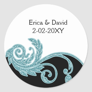 aqua wedding label round sticker