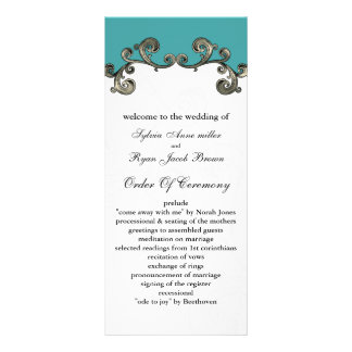 aqua Wedding program Custom Rack Cards