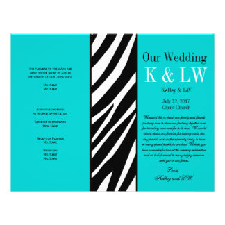 Aqua Wedding Program Zebra Stripes Pattern 21.5 Cm X 28 Cm Flyer