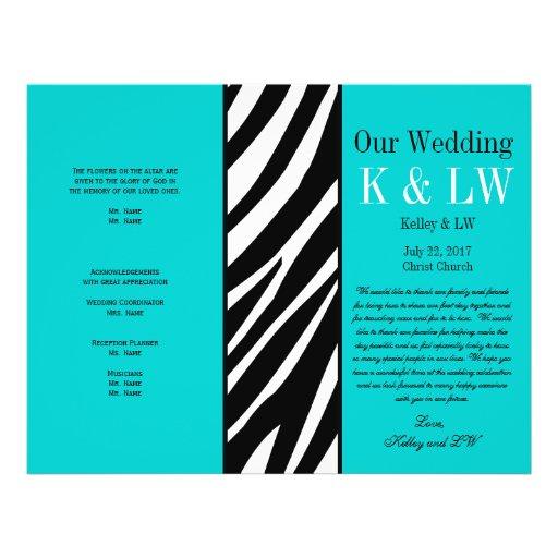 Aqua Wedding Program Zebra Stripes Pattern Flyer